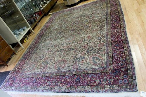 Antique , Finely Woven Handmade Kirman Carpet