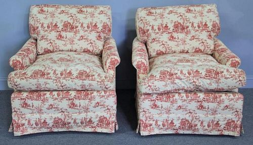 Pair Of Decorative Down fillled  Club Chairs