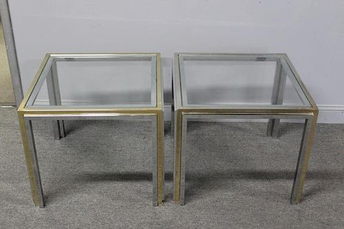 Pair of Mixed Metal Glass Top End Tables.
