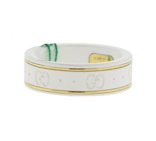 0c2ce5280 Gucci White Ceramic 18k Gold Band Ring by Hampton Estate Auction ...