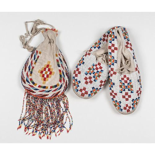Apache Beaded Bag PLUS Sioux Beaded Moccasins