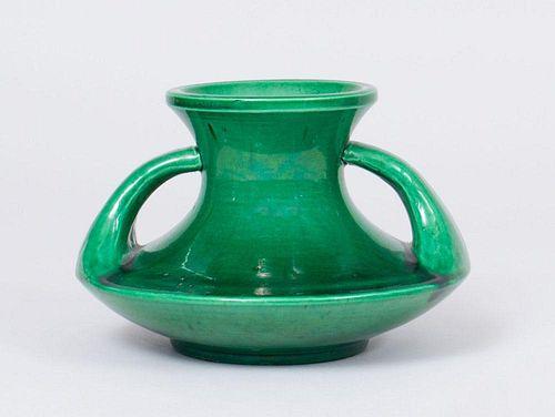 GREEN GLAZED PORCELAIN VASE WITH HANDLES