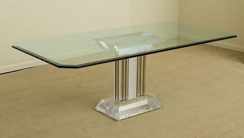 LUCITE, BRASS AND GLASS DINING TABLE