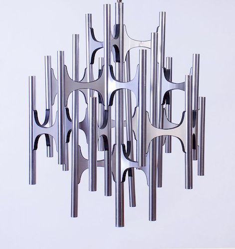 GAETANO SCIOLARI CHROME TEN-LIGHT CHANDELIER