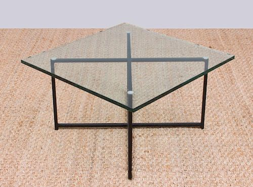 PAINTED METAL AND GLASS X-FORM LOW TABLE