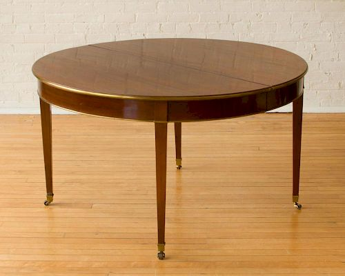 LOUIS XVI STYLE BRASS AND MAHOGANY EXTENSION DINING TABLE