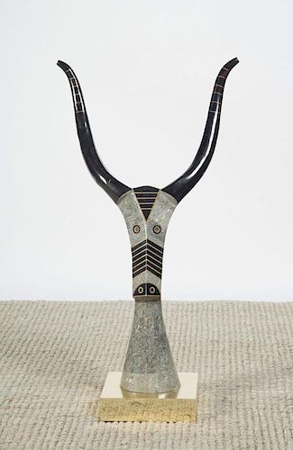 MAITLAND-SMITH HARDSTONE VENEERED MODEL OF AN ANTELOPE