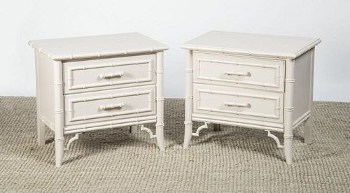 PAIR OF PAINTED FAUX BAMBOO END TABLES