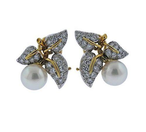 492c6607e Tiffany & Co Schlumberger Platinum Gold Diamond Pearl Earrings ...