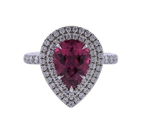 abf61e342 Tiffany & Co Soleste Platinum Diamond Tourmaline Ring by Hampton ...