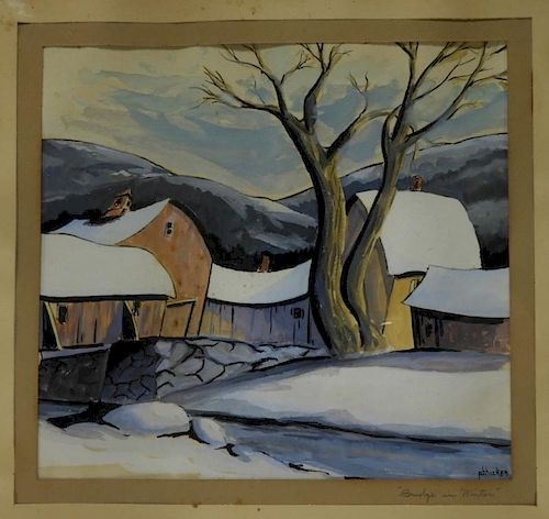 Philip Hicken Bridge in Winter Landscape Painting