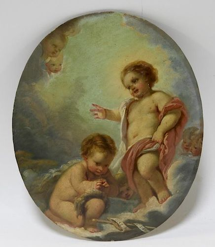 European Double Sided O/B Putti Woman Painting