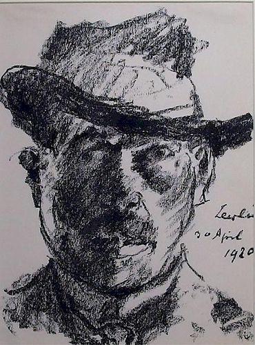 Lovis Corinth Selbstbildnis Portrait Lithograph
