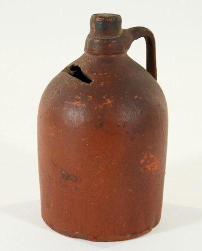 19C Diminutive Redware Pottery Jug Still Bank