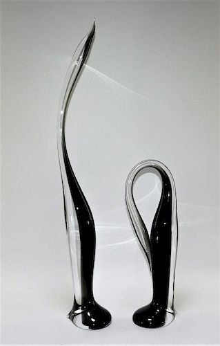 PR Gino Cenedese Murano Sommerso Glass Penguins
