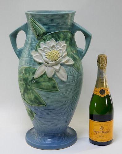 LARGE Roseville Pottery Blue Water Lily Floor Vase