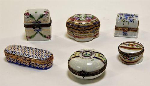 6 Limoges Porcelain Pill Jewelry Trinket Box