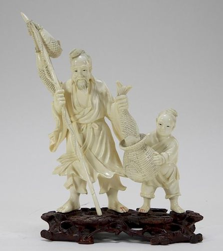 Chinese Carved Ivory Elder Man & Boy Fishing