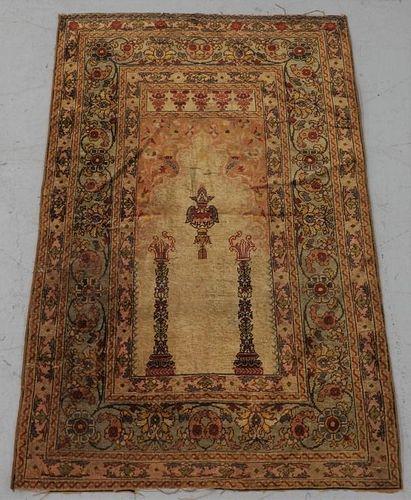 Antique Turkish Tabriz Haji Jalili Silk Prayer Rug