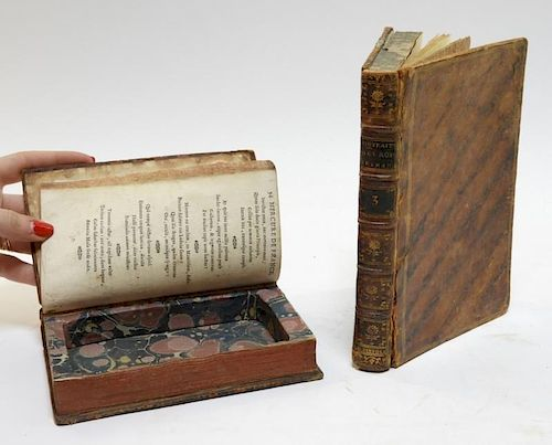 2 18C. French Leather Bound Hollow Book Safes