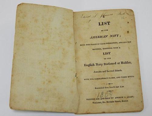 C.1809 List of the American Navy Chapbook