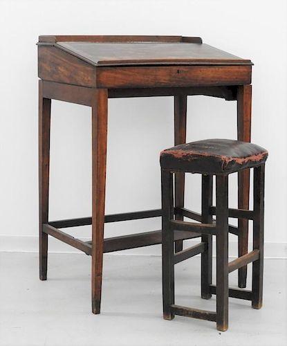 18C. American Mahogany Plantation Desk & Stool