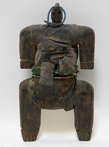 African Oceanic Carved Wood Beaded Fetish Figure