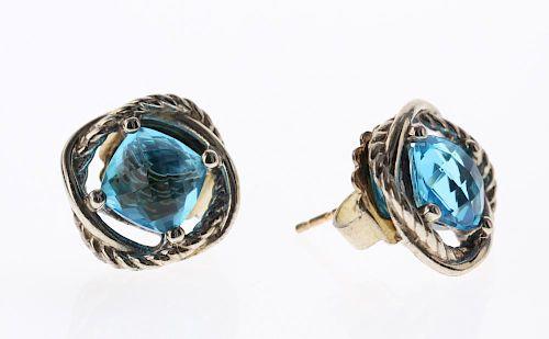 David Yurman Sterling Silver Vintage Blue Topaz Infinity Earrings Lot 388 Prev Next Item Image