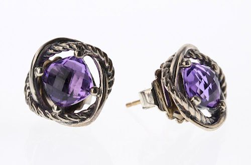 a5a493eddebbd David Yurman Sterling Silver Vintage Amethyst Infinity Earrings by ...