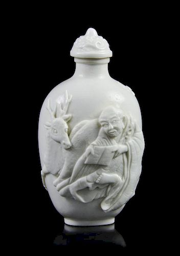 A White Glazed Biscuit Porcelain Snuff Bottle, Height 3 inches.