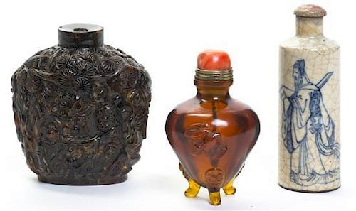 A Group of Three Snuff Bottles, Height of tallest 3 inches.