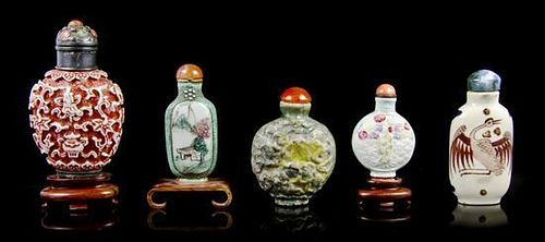 * A Group of Five Glazed Ceramic Snuff Bottles, Height of tallest overall 3 1/8 inches.