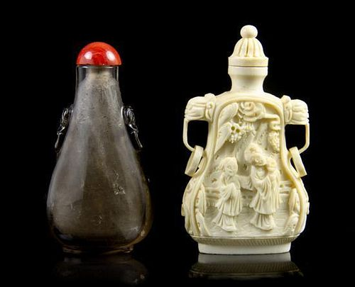 A Group of Two Snuff Bottles, Height of first overall 3 inches.