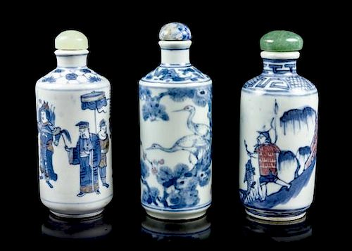 Three Ceramic Snuff Bottles, Height of each 3 1/4 inches.