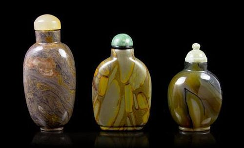 A Group of Three Snuff Bottles, Height of tallest 3 1/4 inches.