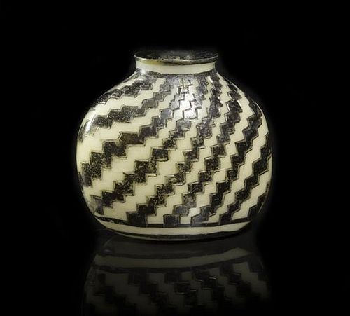 A Black and White Porcelain Snuff Bottle, Width 1 7/8 inches.