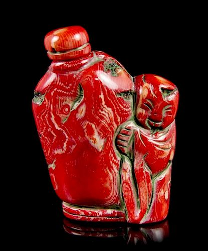 A Coral Snuff Bottle, Height overall 3 1/8 inches.