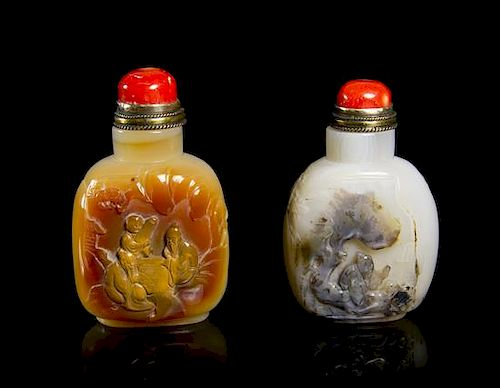 Two Carved Agate Snuff Bottles, Height of taller 3 1/2 inches.