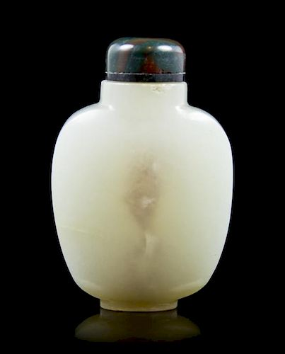 A White Jade Snuff Bottle, Height 2 1/8 inches.
