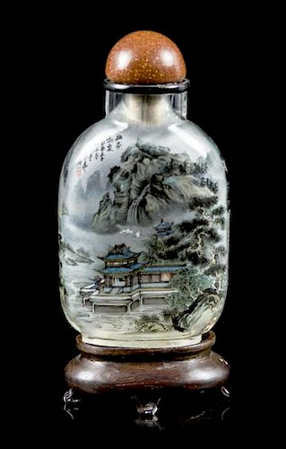An Interior Painted Glass Snuff Bottle, Height of Bottle 2 1/2 inches.