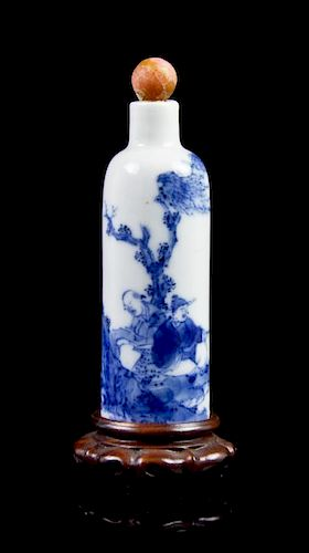 A Blue and White Cylindrical Snuff Bottle, Height 2 3/4 inches.
