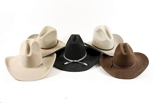 Group of 5 Men's Cowboy Hats, Stetson & Resistol by Ahlers