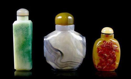 A Group of Three Snuff Bottles, Height of tallest 3 1/8 inches.