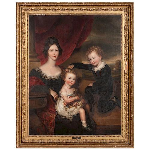 Thomas Barber, Portrait of Mrs. Dorothy Prideaux Sawle and Her Two Children Charles and Mary