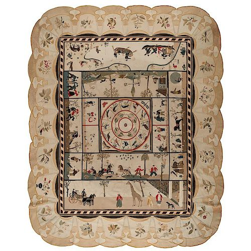 A Rare 1831 English Intarsia Patchwork Pictorial Table Cover