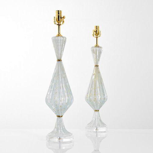 Pair of Barovier & Toso Lamps, Murano