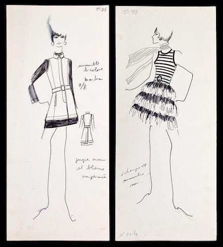 2 Karl Lagerfeld Fashion Drawings, Original Works