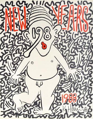 Keith Haring & LA II (Angel Ortiz) Embellished Screenprint