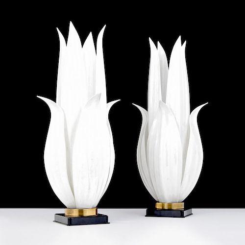 Pair of Large Rougier Floriform Lamps