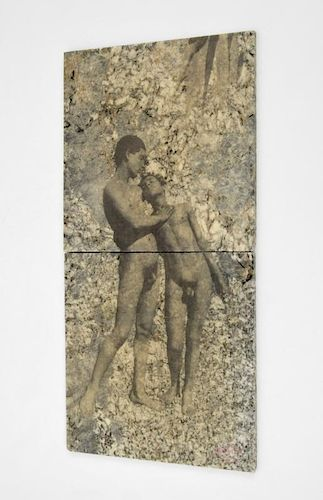 Pair of John Baldessari Erotic Mixed Media Tiles